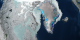 This animation shows the flow of the Jakobshavn glacier in 2000, followed by a time series of the glacier's retreat from 2001 through 2006. When pulling away from Greenland, a colored overlay shows the changes in the ice sheet elevation between 2003 and 2006.