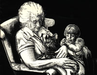 Conference artwork, an elderly woman in a rocking chair craddling a cat with a small child leaning into the chair.