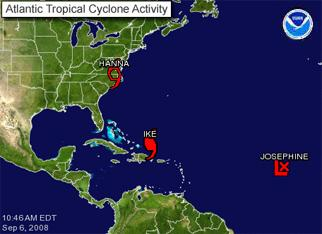 Atlantic Tropical Cyclone Activity graphic showing the location of Hanna, Ike, and Josephine.