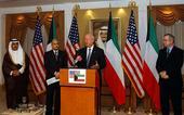 U.S. Energy Secretary Samuel Bodman with U.S.Ambassdor Richard LeBaron and Kuwaiti Undersecretary of the Ministry of Energy Issa Mohammed Al-Aoun far left