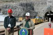 Secretary Bodman (right) and Paul Golan host a press conference at Yucca Mountain