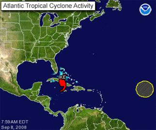 Atlantic Tropical Cyclone Activity graphic showing the location of Ike and the remnants of Josephine.