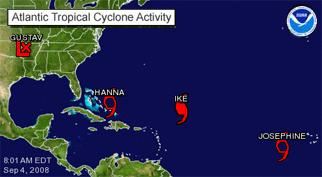 Atlantic Tropical Cyclone Activity graphic showing the location of Gustav, Hanna, Ike, and Josephine.