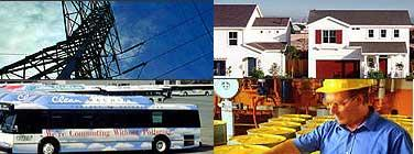 power sources, energy efficient homes, busses, and clean up
