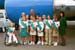 President George W. Bush met with members of Girl Scout Troop #272 upon arrival at the Tri-Cities Airport in Pasco, Washington on Friday, August 22, 2003. Each of these young girls participates in several volunteer service activities each year.