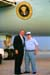 President George W. Bush met Robert W. Samuel upon arrival at Marine Corps Air Station Miramar, CA, on Thursday, August 14, 2003.  Samuel has been an active volunteer with the San Diego Armed Services YMCA for the past 20 years.