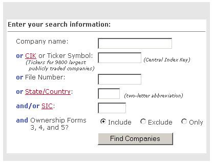 Company Search screen