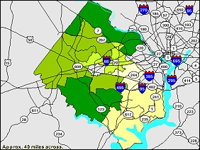 Thematic Map example showing Fairfax County, Virginia