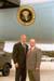 President George W. Bush met Jerry Markley upon arrival in Cincinnati, Ohio, on Tuesday, September 30, 2003.  Markley has been an active volunteer with the Cincinnati Police Department's Citizens on Patrol program since 1997.