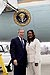 President George W. Bush met Tenisha Stevens upon arrival in New Orleans, Louisiana, on Thursday, January 15, 2004.  Stevens has been an active volunteer with Union Bethel AME Church for the past 14 years.