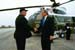 President George W. Bush met Timothy J. Haniford upon arrival in Lima, Ohio, on Thursday, April 24, 2003. Haniford serves as chair of the Allen County Citizen Corps Council helping to make his community safer and better prepared to respond to emergencies.