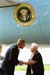 President George W. Bush met Susie Monaco upon arrival in Tampa, Florida, on Monday, June 30, 2003. For the past 13 years, Monaco has been an active volunteer with the Retired and Senior Volunteer Program (RSVP).
