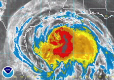 Satellite image of Hurricane Ike. Click here for larger image.