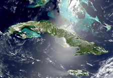 NASA satellite photograph of Cuba. Click for larger image.