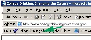 Browser toolbar with green arrow showing link to this site