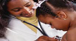 Doctor testing a girl with a stethoscope
