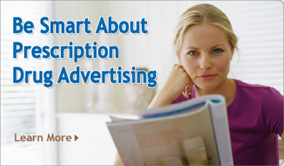 A woman looking at prescription drug advertising in a magazine. With Learn More button.