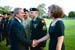 President George W. Bush met Miriam Shambach upon arrival in Carlisle, Pennsylvania, on Monday, May 24, 2004.  Shambach, the wife of Colonel Stephen Shambach, volunteers as a tutor at local schools and has served with programs connected to the U.S. Army War College.