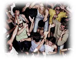 students at a party