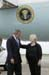 President George W. Bush met Carmen S. Parker upon arrival in Houston, Texas, on Saturday, July 19, 2003. Parker has been an active volunteer in the Houston area for more than 12 years.
