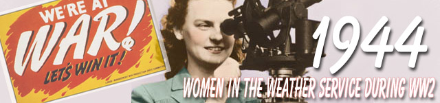 Collage of WW2 signs and women with weather observation instrument.