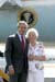 President George W. Bush met Jeanne Robertson upon arrival in Seattle, Washington, on Friday, August 13, 2004.  Robertson, 82, is a mentor with the Lake Washington School District Lunch Buddy program.
