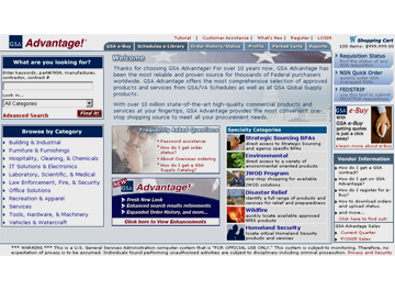 Screenshot of GSA Advantage! website