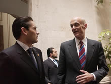 Secretary Michael Chertoff with Mexican Secretary of Government Juan Camilo Mouriño