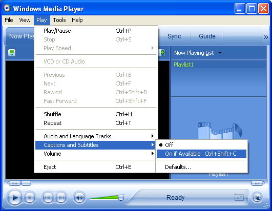 Screen shot of Windows Media Player with menu drop down to Play > Captions and Subtitles > On if Available