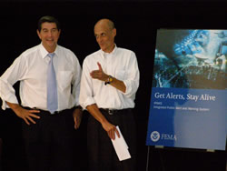 Alabama Governor Bob Riley and Secretary Michael Chertoff at demonstration of the Integrated Public Alert and Warning System. (Low-Res only)
