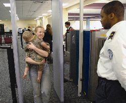 Passenger screening by TSA Officer.