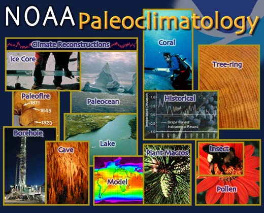 Paleoclimatology collage. Images representing paleoclimate proxy data sources. Click image to obtain data.