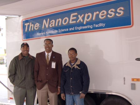 Tony Gomez of the Howard Vacuum Technology Dept.; Dr. Gary L. Harris, director of the Howard Nanoscale Science and Engineering Facility; and Nicholas Monyenye, Howard graduate student in electrical engineering, brought the NanoExpress to the National Science Foundation in late October.