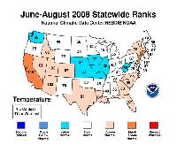 June-August 2008 statewide Temperature Ranks.