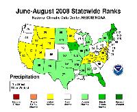 June-August 2008 statewide Precipitation Ranks.