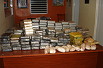 Table full of seized cocaine