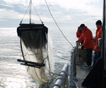 A trawl takes an early morning dip into a glassy Delaware Bay.