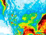 A modeled computer product showing mercury wet deposition over the US for 2001