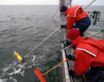 Researchers on board ship retrieve the REMUS from the ocean.