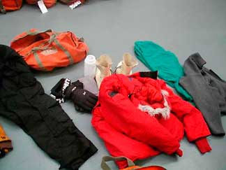 Examples of clothing worn in Antarctica