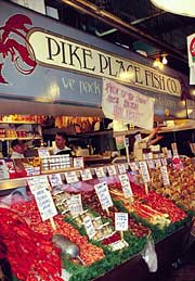 Fresh seafood available for sale at the Pike Place Fish Company