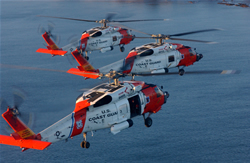 KODIAK, Alaska - Coast Guard MH-60 Jayhawk helicopters from Air Station Kodiak fly over the ocean off Kodiak Island December 17, 2007.(Official U.S. Coast Guard photo by PA1 Kurt Fredrickson)