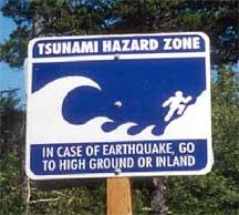 Tsunami Hazard Zone warning sign