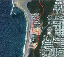 Area of flooding vulnerability overlaid on satellite map of coast
