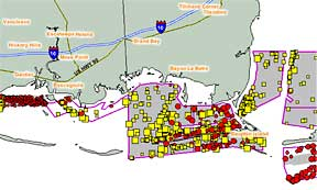An example of an online interactive map showing mapped debris off the Louisiana coast