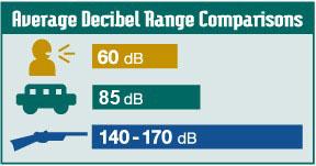 Average Decibel Range Comparisons. Conversation 60 dB, traffic 80 dB, firearms 140-170 dB