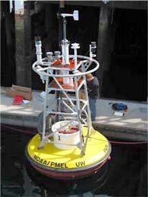 NOAA scientists and technicians make final adjustments on the first buoy to carry equipment that measures ocean acidification.