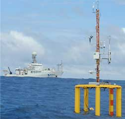 Deployment of experimental equipment to measure air-sea gas exchange in the Equatorial Pacific