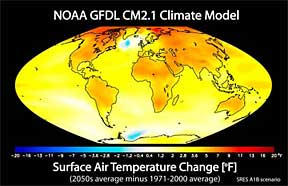 Climate model of projected change in annual mean surface air temperature from the late 20th century to the mid-21st century.