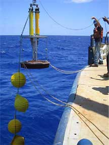 Scientists help deploy instruments in a network of moorings in the subtropical Atlantic.